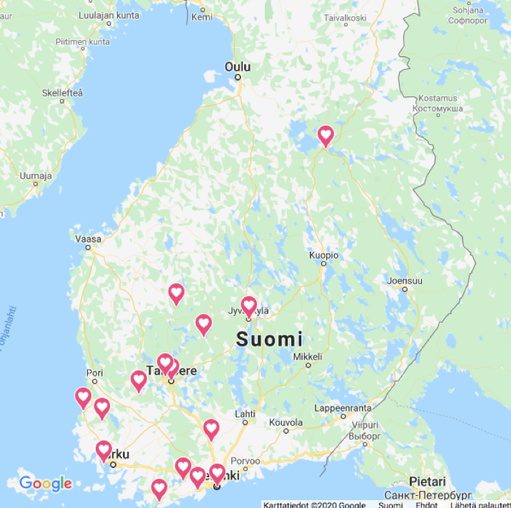 Kuvassa on Suomen kartta, johon on merkitty ne paikkakunnat, joissa on käynnistymässä historiakerho.